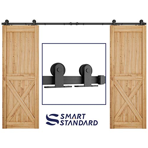 10ft Heavy Duty Sturdy Double Door Sliding Barn Door Hardware Kit - Super Smoothly and Quietly - Simple and Easy to Install - Includes Step-by-Step Instruction -Fit 30 Wide Door Panel(T Shape Hanger)