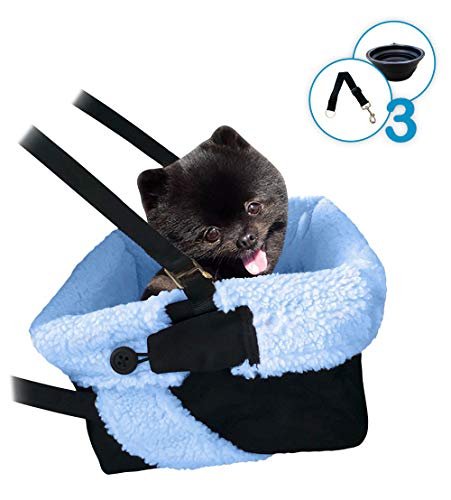 Blue & Black Cozy Boost with Clip On Leash- Dog Booster Seat + Collapsible Dish for Small and Medium Dogs, Puppies, and Pets Up to 20lbs