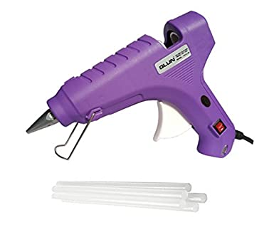 GLUN (Special Color) 80W 80 WATT HOT MELT Glue (ON Off Switch and Indicator) with 5 Free Transparent Glue Sticks :- (Purple)