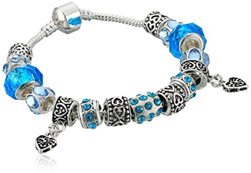 Naivo Designer Inspired Crystal Snake Chain Murano Glass Beads Charm Bracelet, 50 Shades of Love