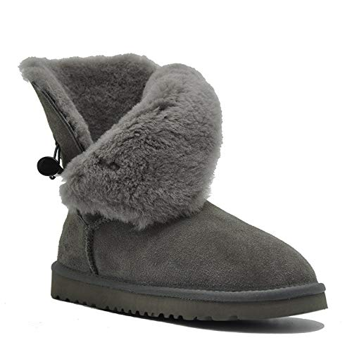Grey Fumak Lady shoes Waterproof Genuine Leather Snow Boots Natural Fur Winter Boots Warm Classic Women Boots