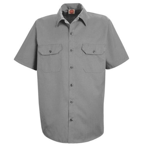 Short Sleeve Shirt Work Pencil (Red Kap Men's Utility Uniform Shirt, Silver, Short Sleeve 4X-Large)