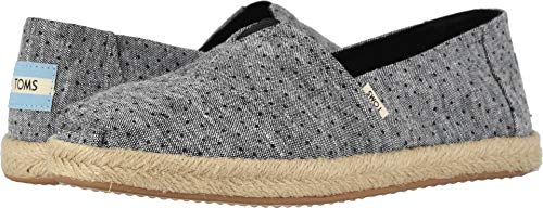 TOMS Women's Alpargata on Rope Black Tiny Chambray Dots On Rope 5 B US