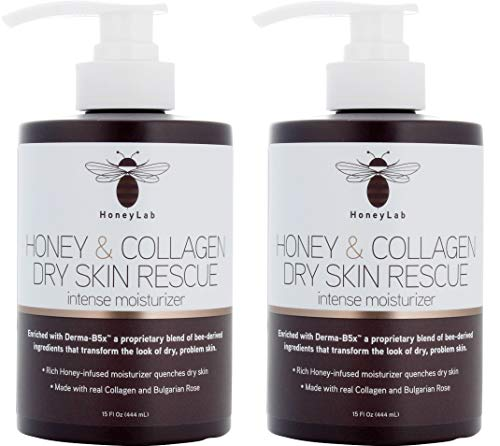 HoneyLab Dry Skin Rescue Cream for Face and Body. 15 FL Oz. Anti-aging Cream with Collagen and Honey and Bulgarian Rose for Wrinkles, Dry Skin, Sagging Skin. (Two - 15oz)