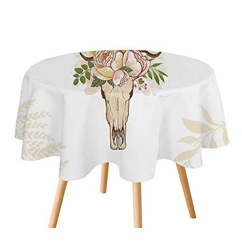 C COABALLA Antler Decor Polyester Round Tablecloth,Horns Soft Flowers Bouquet Spring Nature Theme Rustic Home Decor Decorative for Home Restaurant,70.8