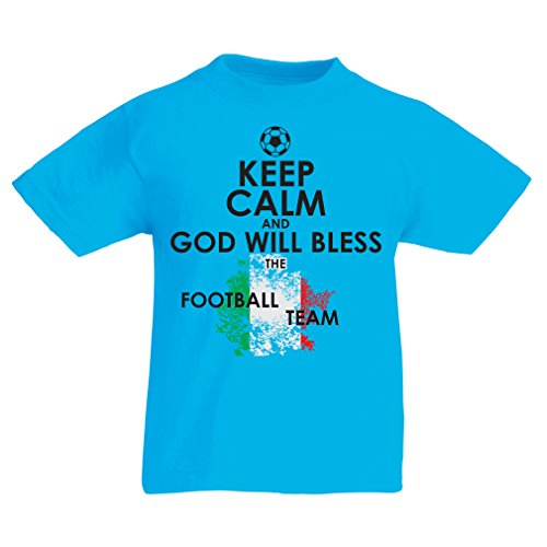 fan products of lepni.me N4458K Kids T-Shirt Keep Calm and God Will Bless The Italian National Football Team (14-15 Years Light Blue Multicolor)