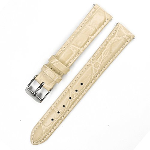 YQI Great Replacement Watch Strap with Crocodile Embossed Pattern,Genuine Leather Watch Band for Women(16mm,Cream)