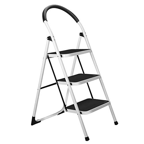 Gimify 3 Step Ladder, Folding Step Stool Steel Anti-Slip Sturdy Wide Pedal 330lbs - Ladder Steel