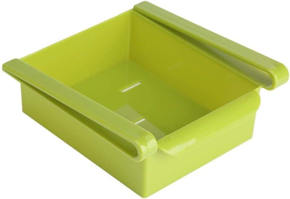 b Rack de almacenamiento frigor/ífico-Slide cocina ordenada del congelador de refrigerador del espacio Guardar organizador del almacenaje del color del sostenedor del estante del estante verde azul