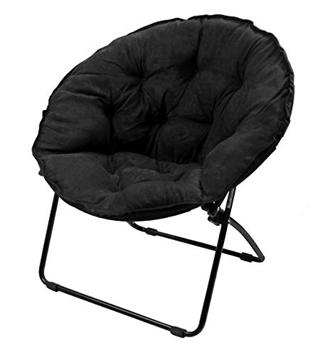 Zenithen Limited Micro Fiber Saucer Chair with Metal Frame, One Size, Black