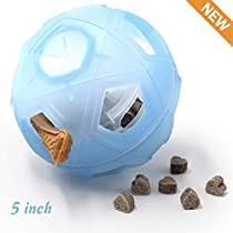 "Dog Treat Ball, 5"" Interactive IQ Treat Dispensing Ball Toy Adjustable DifficultySetting Small to Medium Dogs Cats."