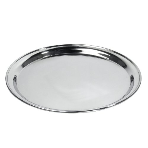 (Royal Industries Service Tray, Round Stainless Steel, 12'', Silver)