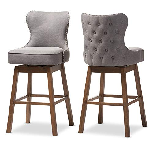 Modern and Contemporary Design Swivel Barstool, Set of 2, Durable Solid Rubberwood Construction, Grey Fabric Upholstered Seat and Back, Button-Tufting, Silver Nailhead Trim, Dark Walnut Finish