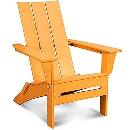 amazon com polywood modern folding adirondack chair tangerine