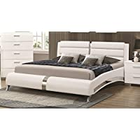 Coaster 300345Q Felicity Queen Bed Glossy White Finish Metallic Accent