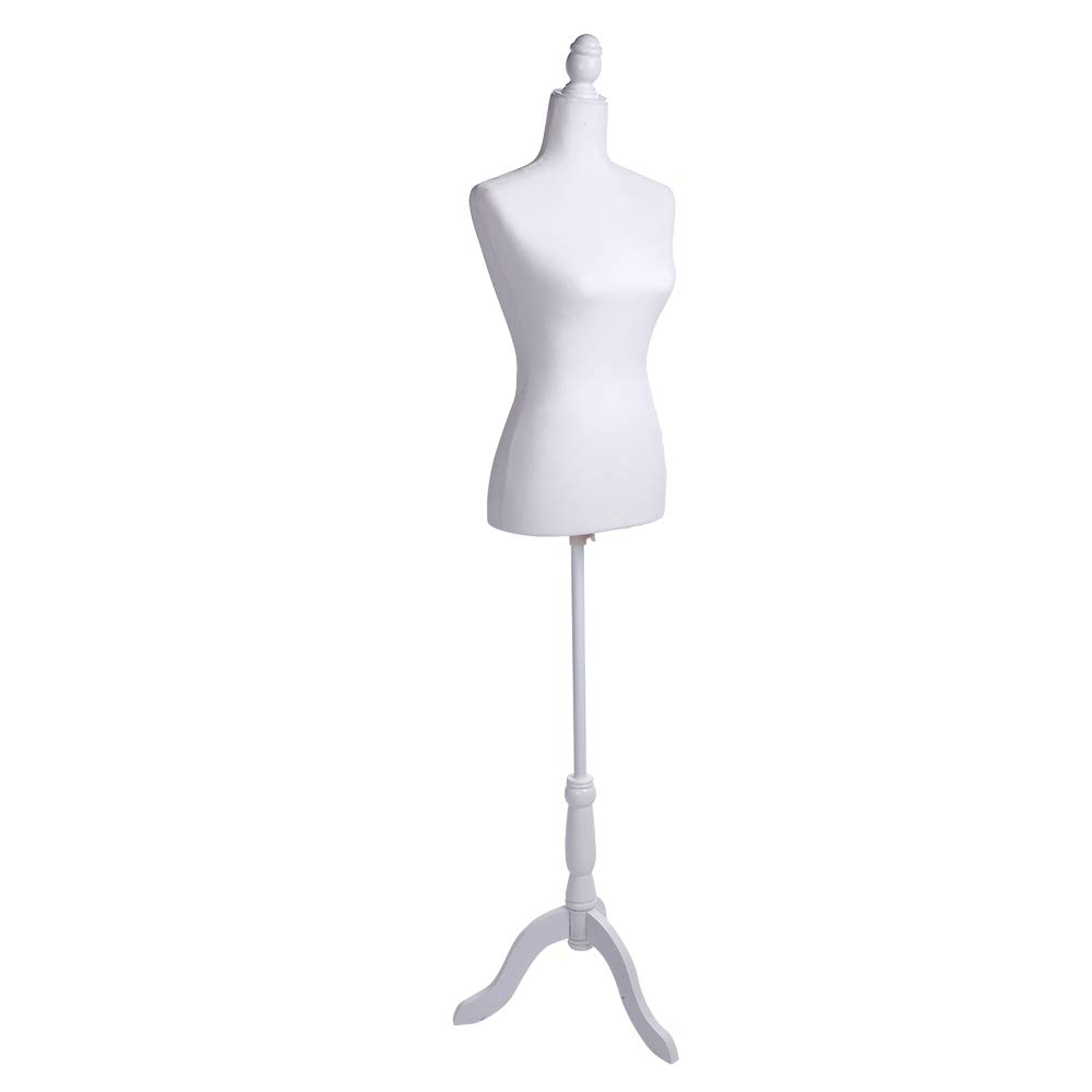 XuanL Half-Length Foam Lady Model Brushed Fabric Coating Lady Model Clothing Display Stand White Color