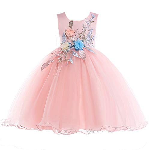 Fairy Cute Party Pageant Prom Vintage Flower Girl Dress Teens Girls Knee Length Sleeveless Wedding Bridal Ball Gown Formal Sweetest Day Dress Size 4 5 Years (Pink 120)]()