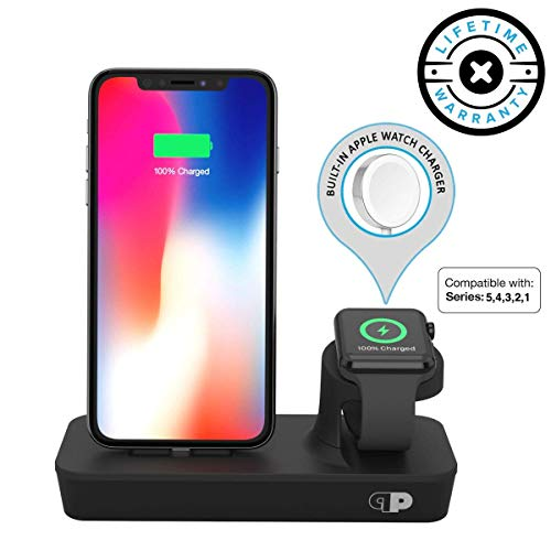 Charger Dock for Apple Watch & iPhone (Apple Certified), ONEDock DUO Power Station w/Built-in Original Apple Watch Charging Cable & Lightning Connector for Docking, Made for Series, 5,4,3,2,1, AirPods (Ipod Dock Lightning Connector)