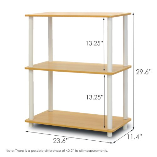 Furinno 10024BE/WH Turn-N-Tube 3-Tier Compact Multipurpose Shelf Display Rack, Beech