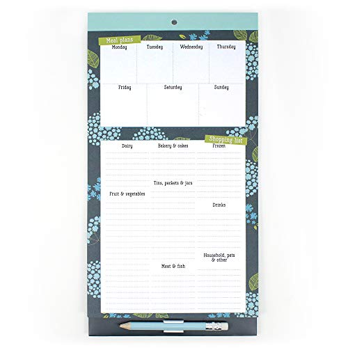 Boxclever Press Meal Planner & Shopping Magnetic Fridge List Pad. Cute magnetic notepad, grocery list and weekly menu day planner. Great for meal prep! Clip-on pencil, pocket for receipts, coupons.