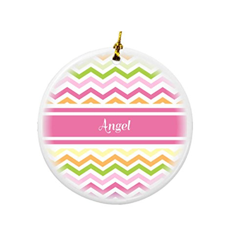 Rikki Knight Angel Pink Chevron Name Design Round Porcelain Two-Sided Christmas (Round Angel Name Pendant)