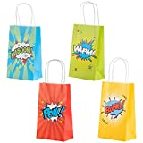 Superhero Comic Book Gift Bags - 24-Pack Kids Treat Bags with Handles, Paper Goodie Bags for Retail, Gifts, Party Favors, 4 Assorted Designs, 9 x 5.3 x 3.15 Inches