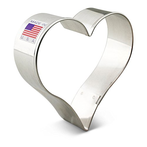 Heart Decorated Cookie (Ann Clark Heart Cookie Cutter - 3.4 Inches - Tin Plated Steel)