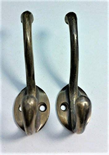 """Oval Backplate 3/"""" x 2/""""  #C9 2 Solid Antique Brass Double Coat Hooks w"""