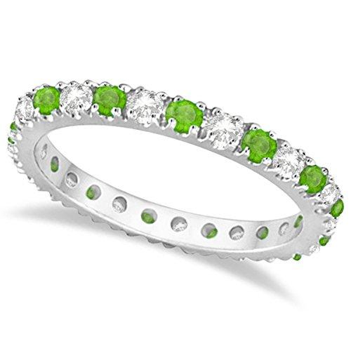 (0.64ct) Diamond and Green Tsavorite Garnet Stone Eternity Stackable Ring Band 14K White Gold