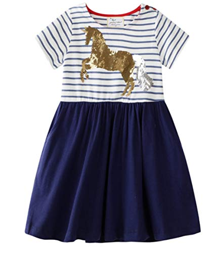 Baby Girls Unicorn Stripe Cotton Dress Short Sleeves Casual Summer Sequin Skirt Dresses