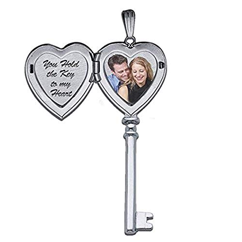 PicturesOnGold.com 14k White Gold Sweetheart Key Locket - 3/4 Inch X 2 Inch in Solid 14K White Gold with Engraving