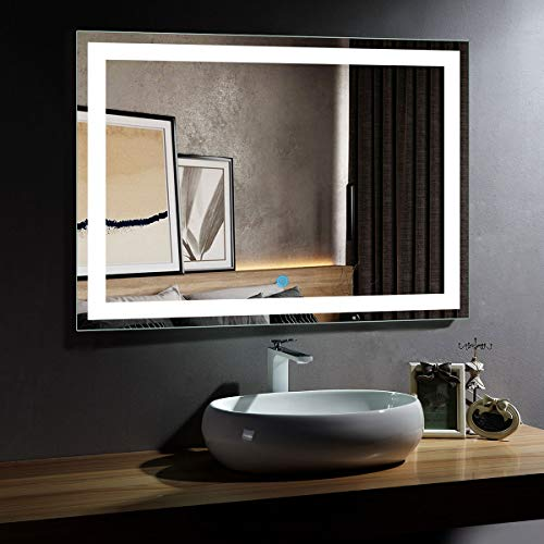 DP Home Large Illuminated Lighted Makeup Mirror, Led Wall Mounted Backlit Bathroom Vanity Mirror with Touch Sensor,48 x 36 in E-CK010-D