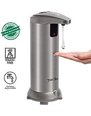 zociko Distributeur de Savon Automatique, Distributeur de Lotion 250ml Acier Inoxydable, Capteur Infrarouge sans Contact et Base Imperméable à l'eau pour Cuisine ou Salle de Bain