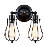 Vintage Wall Lights Adjustable Socket Industrial Lighting Rustic Wire Metal Cage Sconces Indoor Home Wall Lamp Retro Light Fixture (2-Light Lamp Base) (Modern Black)