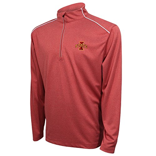 Crable Adult NCAA Men's Quarter Zip with with Shoulder Piping, Cardinal/White, - Cardinal White Pullover