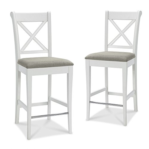 Table & Chair Designs - Vegas Solid Wood Counter Height Bar Stool (Set of 2) (Cross Back, Off-White)