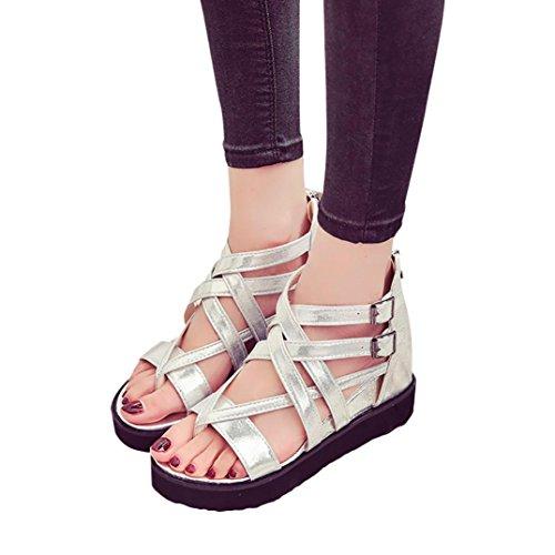 Fullkang Womens Summer Sandals Peep-toe Shoes Roman Sandals Ladies Flip Flops Silver mO8I6ykv9u