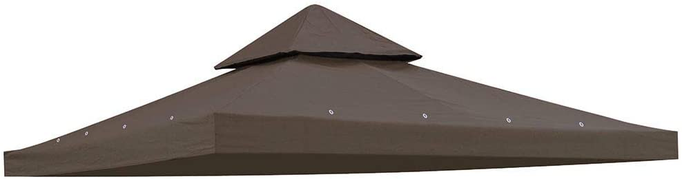 Yescom 10'x10' Gazebo Top Replacement for 2 Tier Outdoor Canopy Cover Patio Garden Yard Coffee Liqueur Y00210T10