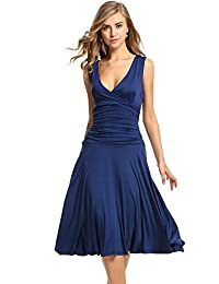 Meaneor Women's Sleeveless V Neck Crossover Ruched Waist Slimming Swing Dress