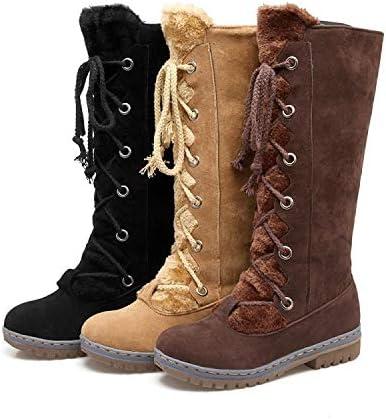 34-46 Botas Altas de Mujer, Cómodo Fondo Plano Botas de Nieve para Mujer, Parte Superior de Cuero de Ante Mate Otoño Invierno Forro Grueso Botas de esquí de algodón cálido