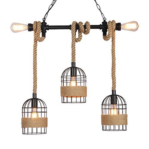 L&W Nordic Retro Vintage Pendant Light Hemp Pendant Lamp Rise And Fall Pendant Light E27 Light Lamp Fixture Fall Outdoor Pendant