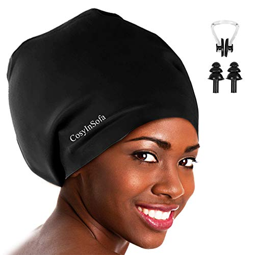 CosyInSofa Extra Large Swimming/Shower Cap for Women and Men,Special Design Swim Cap for Long Thick Curly Hair&Dreadlocks Weaves Braids Afros Silicone Keep Your Hair Dry