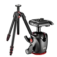 Manfrotto 190Go! Aluminum 4-Section Black Tripod with Twist Locks & 90° Column, 4 Leg Angles - Bundle With Manfrotto MHXPRO-BHQ2 XPRO Ball Head with 200PL RC2-System Quick Release Plate