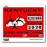 Kentucky KY Zombie Hunting License Permit Red - Biohazard Response Team - Window Bumper Locker Sticker