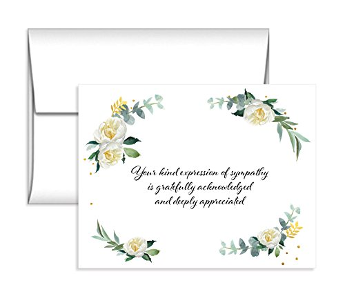 (15 Soft Flower Sympathy Acknowledgement Cards, Includes Envelopes)