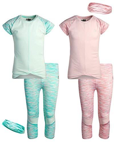RBX Girls' Active Set – Performance Short Sleeve T-Shirt, Capri Yoga Pants Leggings, and Headband Set (2 Pack)