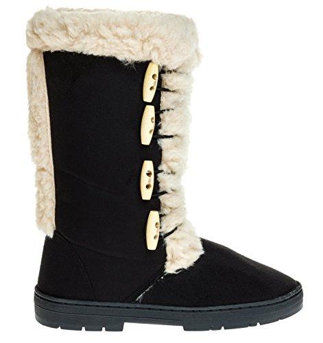 Sara Z Ladies Microsuede Stivali Invernali Da 10 Pollici Con Finitura Sherpa Nera
