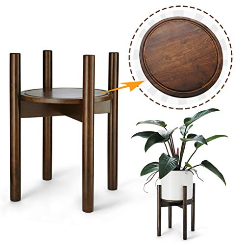 LITADA Rubber Wood Plant Stand Mid Century Planter Stand with Plant Saucer, 16'' Tall - Fit 10.5'' Flower Pot, Wood Flower Pot Holder Home Decor - Walnut Color (Plant and Pot NOT Included) ()