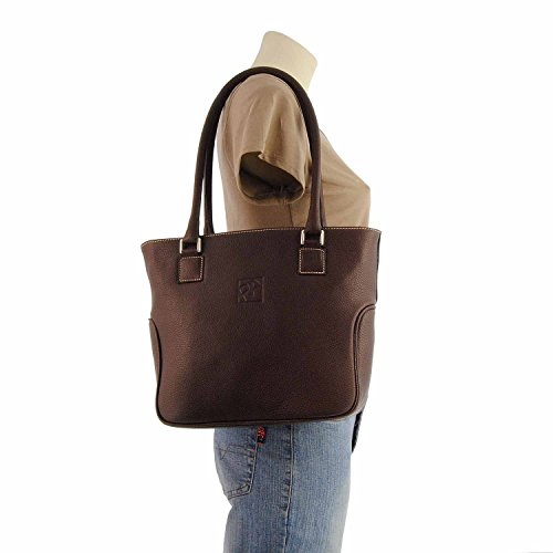 Shopping Bolso Marron Paula Con Dos Asas De Alonso Piel Estilo pfqZ7