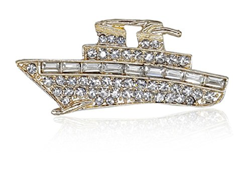 YACHT CRUISE SHIP Brooch s Hand Made one at a Time.Pin is Embellished with Faceted Crystal Rhinestones.Beautiful Cruise or Bon Voyage Gift:)